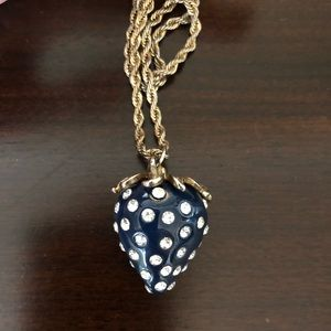 Fun blue strawberry necklace with crystal seeds